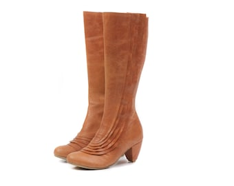 women boots, camel leather boots