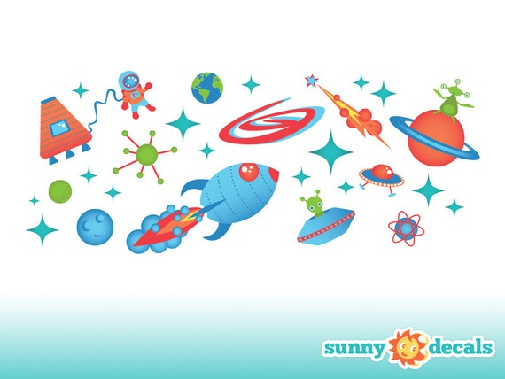 Outer space fabric wall decals wall stickers out space theme for Outer space material