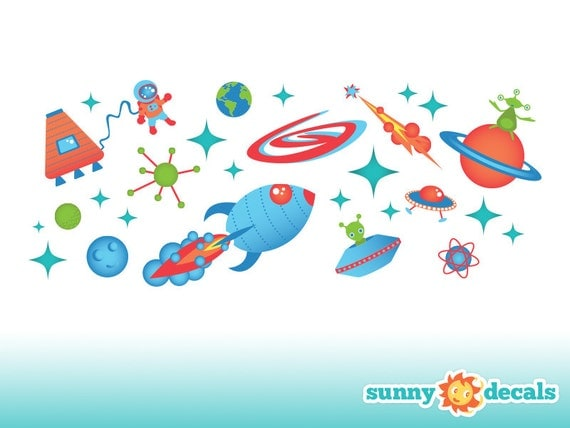 Outer space fabric wall decals wall stickers out space theme for Kids space fabric