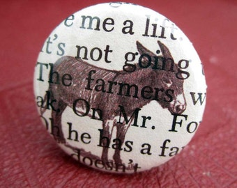 Donkey Ring Book Page adjustable mule jewellery  made from pinback button upcycled book jewelry
