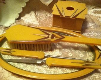 Fabulous ART DECO BAKELITE Dresser Set Tested Reduced