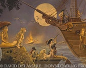 """The Lure of Spanish Gold (Unframed 36""""x18"""" Giclée Print) Mermaid & Pirate Art  by David Delamare"""