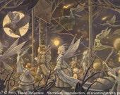 "FALL PROCESSION (Unframed 36""x18"" Giclée Print)  Fairy Art / Faery Art  by David Delamare"