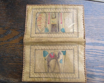Very Vintage Leather Souvenir Leather Wallet - Port Lyautley, Morrocco
