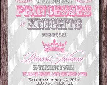 PRINCESS PARTY - Princess and Knight Birthday Party Invitation - Prince and Princess Party Invitation 5x7 - Pink Silver Gray