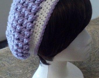 Crochet Slouchy Hat with Stripe