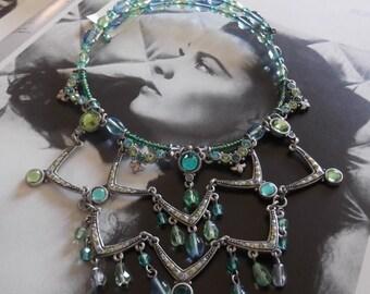 Vintage 1990s Necklace Choker Collar Deadstock Sweet Romance Green Blues Victorian Edwardian