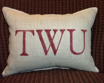 TWU Stenciled Burlap Pillow