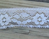 Vintage White or Ivory Flower Lace Trim By the Yard