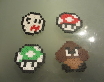 Nintendo Perler Bead Pin Set (4 Pins) Hand-crafted