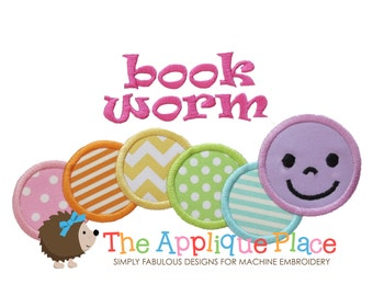 Bookworm Machine Embroidery Applique Design