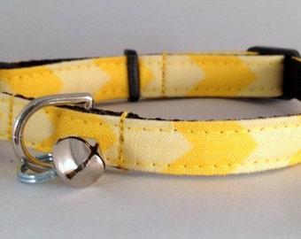 Cat Collar or Kitten Collar - Yellow Chevron