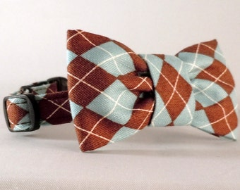 Cat Collar or Kitten Collar with Flower or Bow Tie  - Brown and Blue Argyle