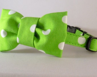 Cat Collar and Bow Tie or Flower - Lime Green Polka Dots