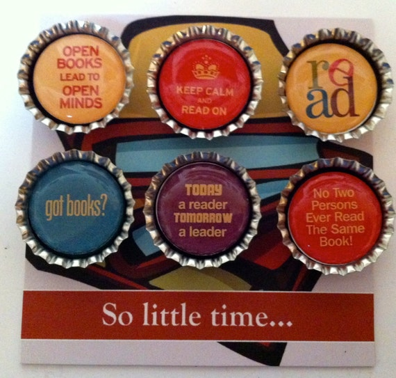 Book Lovers 2 Bottle Cap Magnets