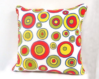 Yellow, Green, Red Pillow, Decorative Pillow, Accent Pillow Throw Pillow includes insert