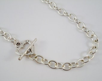 Heart Toggle Heavy Large Link Necklace Silver Plated
