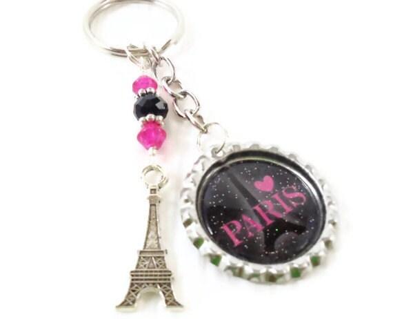 paris eiffel tower bottle cap key chain pink and black. Black Bedroom Furniture Sets. Home Design Ideas
