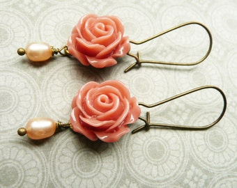 50% OFF Earrings, Pink resin rose and pearl dangle earrings No. 95
