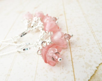 50% OFF Earrings, Pink and silver lucite flower dangle earrings No. 200