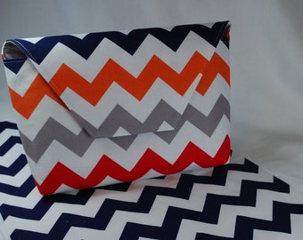 Riley Blake Chevron in Multi & Navy - Grab 'N Go Diaper Bag with Changing Mat