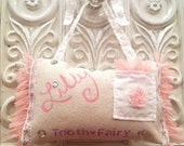 Hand Painted Shabby Chic Tooth Fairy Pillow 5x8.5