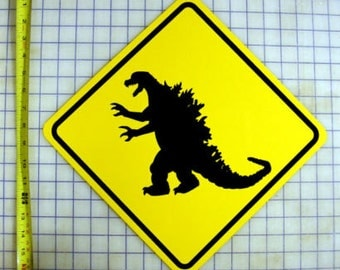 Godzilla Yellow Aluminum Sign