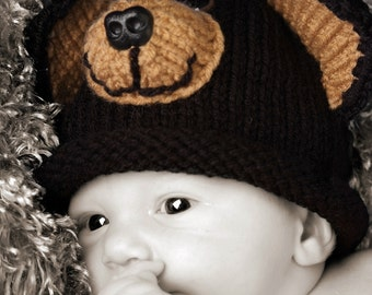 Black Bear Brown Bear Knit Baby Hat Animal Hat Cap Any Color Size New Baby Gift or Photo Prop