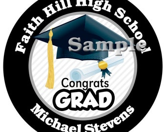 Graduation Black Personalized Stickers , High School, Kindergarten Choose Your Colors, Custom School Colors Available