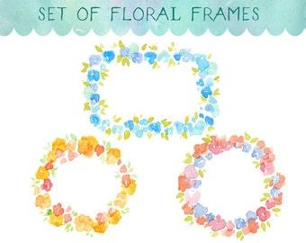 Watercolour Clipart, Watercolor Flowers, Floral Frame, Watercolor Frame, Frame Clipart