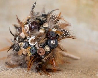 feather and button bouquet  'Autumn feeling'