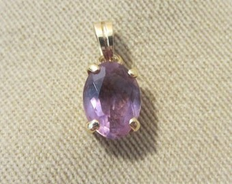 Vintage 70's 14kt Gold Faceted Genuine Amethyst Oval Pendant, Gold Pendant, Necklace, February Birthstone, Ladies Gift, Simple Elegance