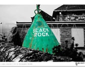 street photography, BLACK ROCK, photo art, black and white with selective color green, art print, street art
