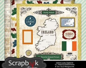 Ireland Digital Scrapbooking. Instant Download.