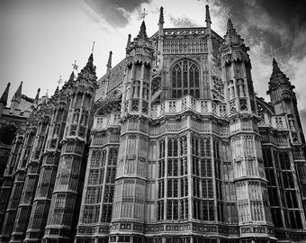 THE TRAVEL COLLECTION, photograph, Westminster Abbey, London, England, black and white, Europe, moody, architecture, gothic
