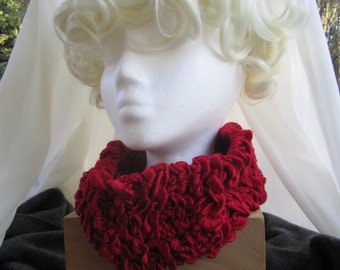 D 102 Soft Ruffled Scarlet Cowl.