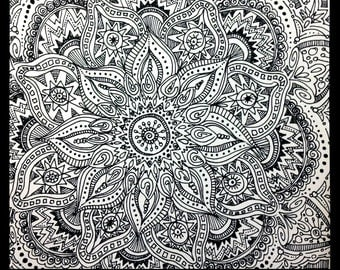 original zentangle doodle drawing modern abstract art pen and ink floral design