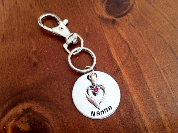 Key Chain- Hand Stamped Stainless Steel Disc with Heart charm.