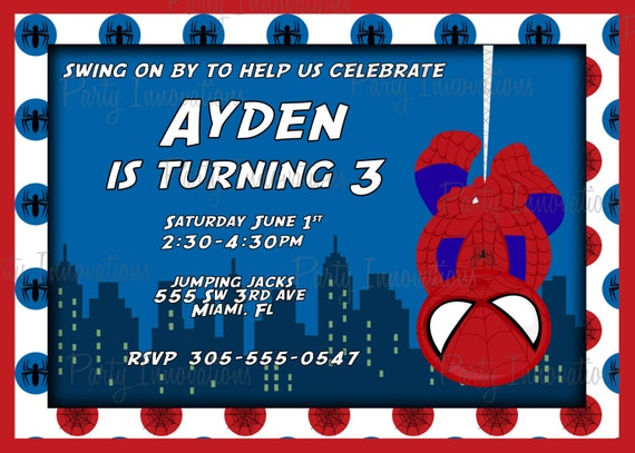 printable spider man birthday party invitation plus free blank, Birthday card