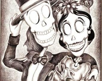 Day of the Dead/ Dia de Los Muertos Print - Muertos In Style by Lisa Cabrera