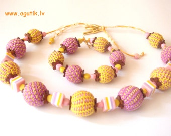 "Girls Jewelry, croched gift set ""Avgusta"", beaded necklace and bracelet"