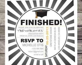 Sun Burst Gradient Graduation Invitation