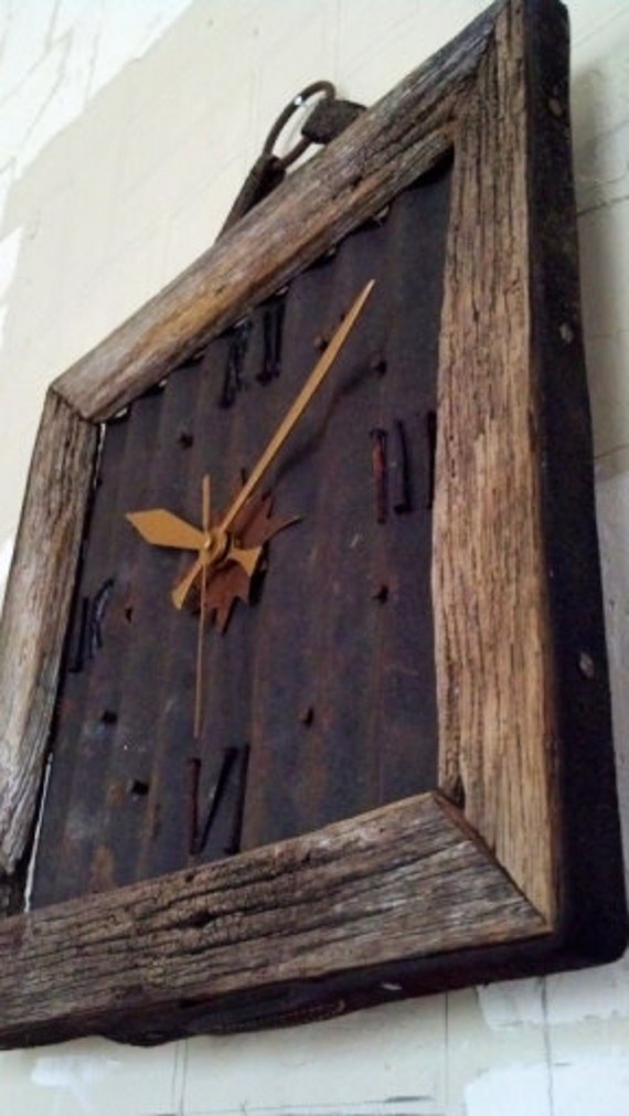 Barn Wood Clock With Rusted Roof Metal Amp 100 Year Old Square