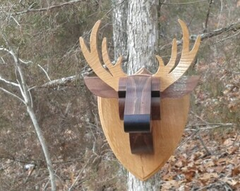 Wooden Mounted 8 Pt Buck Head