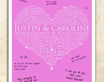 WEDDING signature GUESTBOOK, Wedding Keepsake love poster, 20x24 Signature Guest Book, Wedding Guestbook, personalized wedding word art