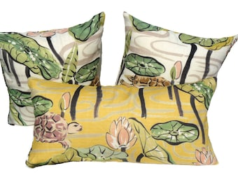 This listing is for one 18 X 18 inch Clarence House - La Tortue -Pillow Cover- FRONT & BACK
