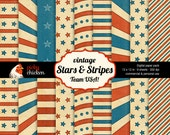 Stars & Stripes Digital Scrapbook Paper - vintage July 4th Patriotic 12x12 muted colors background Instant Download 8012