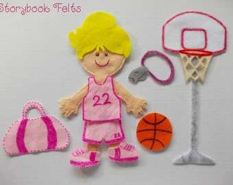 SHOP CLOSING SALE - Felt Doll Outfit Basketball Star Girl Felt Doll Dress Up Set Without Doll Non Paper Doll Paper Doll