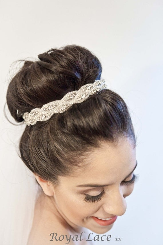 Bridal Hair Accessories For Buns : Wedding headband hair accessory crystals beads