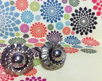 Vintage Silver-Tone Screw Back Atomic Flower Coro Earrings